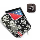 Capa para iPad Caveira com Paetes Leadership  + Fone de Ouvido Cabo Super Reforçado Compatível - Ukimix