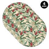Capa para Sousplat Mdecore Floral Bege