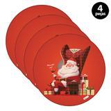 Capa para Sousplat Mdecore Natal Feliz Natal Vermelho