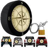 Capa Pneu Roda Estepe Universal com Cadeado Anti Furto Aro 14 à 17 Carrhel 485 Rosa Dos Ventos