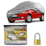 Capa Protetora para Cobrir Carro Impermeável Forrada Proteção UV Tamanho M com Cadeado + Cabo de Aço - Carrhel