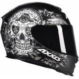 Capacete Axxis Eagle Skull preto fosco/cinza