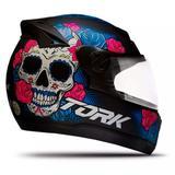 Capacete de Moto Feminino Pro Tork G7 Mexican Skull Fechado Preto Brilhante TAM 58