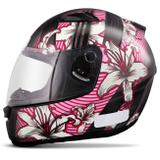 Capacete Fechado EBF E0X Flowers Feminino Preto Brilhante e Rosa Moto - Ebf capacetes