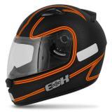 Capacete Fechado EBF E0X Titanium Preto Fosco E Laranja - Ebf capacetes