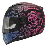 Capacete Moto Feminino Peels Icon Sweet Preto Fosco Rosa Com Óculos Solar Interno