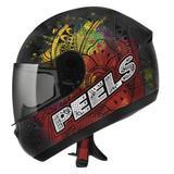 Capacete Moto Feminino Peels Spike Indie Preto Fosco Colorido