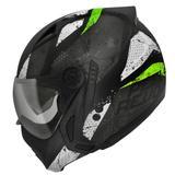Capacete Moto Peels Mirage Revo Preto Fosco Verde Com Óculos Interno