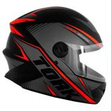 Capacete Para Motociclista Protork R8 Fundo Preto Cinza E Vermelho Tam 60 Cap-569czvm - Pro tork