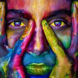 Cara colorida - 28x28cm - 28280224 - Galeria quadros