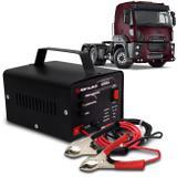 Carregador Bateria Automotivo Para Caminhão Shutt Bivolt 12V 10A 120W Led Indicador Auxiliar Partida
