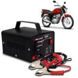 Carregador Bateria Automotivo Para Moto Shutt Bivolt 12V 10A 120W Com Led Indicador Auxiliar Partida