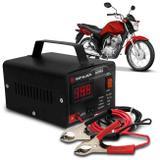 Carregador Bateria Automotivo Para Moto Shutt Bivolt 12V 10A 120W Com Voltímetro Digital