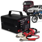 Carregador Bateria Automotivo Shutt Bivolt 12V 10A 120W Com Led Indicador Auxiliar Partida Preto
