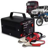 Carregador Bateria Automotivo Shutt Bivolt 12V 5A 60W Com Led Indicador Auxiliar Partida Preto
