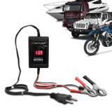 Carregador de Bateria Automotivo Shutt Bivolt 12V 2000mAh 24W Com Voltímetro Auxiliar Partida Preto