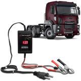 Carregador de Bateria Voltímetro Automotivo Caminhão Shutt 12V 2000mAh 24W Bivolt Auxiliar Partida