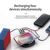 Carregador sem Fio Wireless Iphone Samsung 10W 4 em 1 Com 3 Portas USB 3.4A Turbo Ultra Fast Baseus