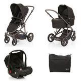 Carrinho de Bebê ABC Design Como 4 Woven Black + Moisés + Bebê Conforto.