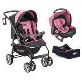 Carrinho de Bebê AT6 K + Touring Evolution SE PRETO E ROSA + Base - Burigotto