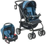 Carrinho de Bebe com Bebe Conforto Burigotto AT6 K Preto e Azul