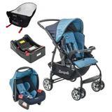 Carrinho de Bebê com Bebê Conforto Rio K Geo Azul + Base + Ninho - Burigotto