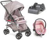 Carrinho de Bebe Reversivel com Bebe Conforto e Base Maranello II Cinza e Rosa - Galzerano
