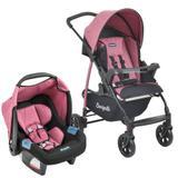 Carrinho de Bebê Travel System Burigotto Ecco Preto e Rosa + Touring Evolution Se