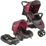 Carrinho de Bebê Travel System Trio Preto e Vinho + Base Lenox Whoop