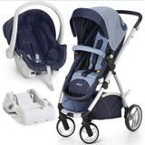 Carrinho de Passeio com Bebê Conforto Maly Azul Jeans e Base - Dzieco