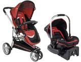 Carrinho travel system tricíclo e bebe conforto com base compass ii vermelho kiddo