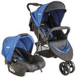 Carrinho Trio Whoop + Bebê Conforto Kiddo Preto/Azul