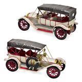 Carro Antigo Decorativo Branco Com Teto Preto 29cm Espressione