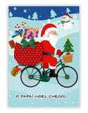 Cartão Artesanal Papai Noel Presentes Bike  - Fina Ideia - Fina idéia