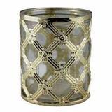 Castiçal de Metal Dourado e Vidro 8,5x8,5x10 cm - Decorafast