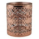 Castical de metal e vidro bronze 8,5cm x 8,5cm x 10cm - Btc decor