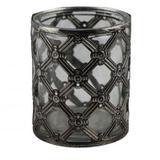 Castical de vidro e metal 8cm x 10cm - Btc decor