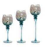 Castiçal redondo prata espelhado e fundo azul - Cod. Cromus: 1417366