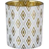 Castiçal Tealight em Vidro Branco e Dourado 8cm - HomeCo