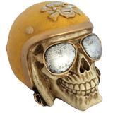 Caveira Decorativa Gesso Motociclista Amarelo - Versare anos dourados