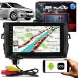 Central Multimídia Corolla 09 a 14 8 Pol Shutt Espelhamento Android IOS BT GPS + Câmera Ré Tartaruga - Kit shutt