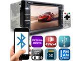 Central Multimídia DVD Player Automotivo 2DIN 6.2 Pol. 4x45W M2M Espelhamento USB Cartão SD Bluetooth 7 Cores Rádio FM Automotivo Universal Controle