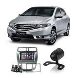 Central Multimídia Honda City 2012 a 2014 7 Polegadas MP5 USB Bluetooth Espelhamento iOS Android + Câmera de Ré - Gold