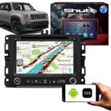 Central Multimídia Jeep Renegade 15 a 19 7 Pol Shutt Espelhamento Via USB e Wifi Android IOS BT GPS