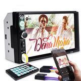 "Central Multimídia MP5 Player 7"" Touch Screen 2 Din Bluetooth Entrada p/ Câmera de Ré USB SD MP3 - Kn"