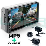 Central Multimídia Universal 2 Din Mp5 Câmera Bluetooth Espelhamento Android iOS - Uberparts
