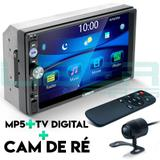 Central Multimídia Universal Mp5 Câmera TV Bt Usb Espelhamento Android iOS - Uberparts