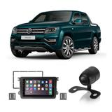 Central Multimídia Volkswagen Amarok 2011 a 2019 7 Polegadas MP5 USB Bluetooth Espelhamento iOS Android + Câmera de Ré - Gold