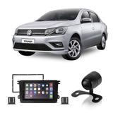 Central Multimídia Volkswagen Voyage G7 2017 a 2019 7 Polegadas MP5 USB Bluetooth Espelhamento iOS Android + Câmera de Ré - Gold
