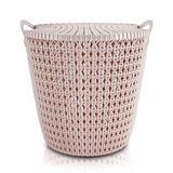 Cesto organizador multiuso médio com tampa e alça design moderno textura rattan jacki design rosa